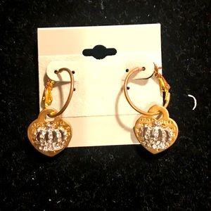 Juicy Couture gold hoop heart earrings